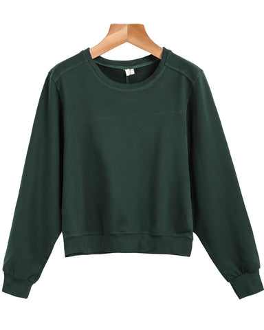 Green Round Neck Long Sleeve Crop Sweatshirt