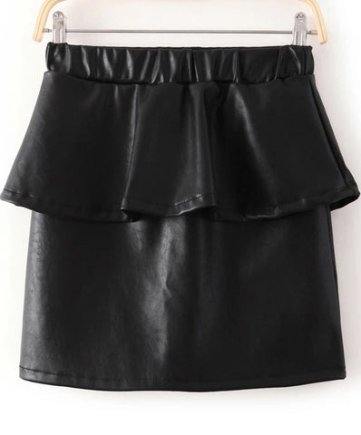 Black Elastic Waist Ruffle PU Leather Skirt