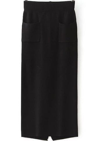 Black Pockets Split Knit Skirt