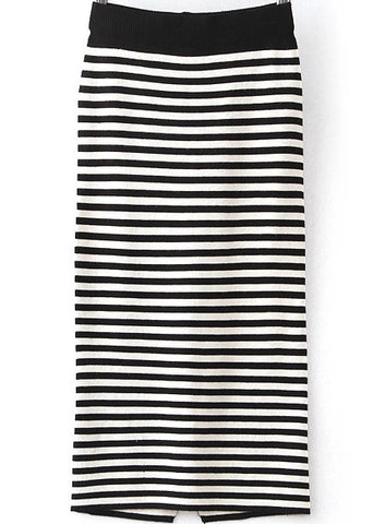 Black Striped Split Knit Skirt