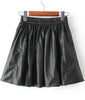 Black Elastic Waist Pleated PU Skirt