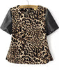 Leopard Contrast PU Leather Short Sleeve Blouse
