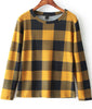 Yellow Long Sleeve Plaid Loose Blouse