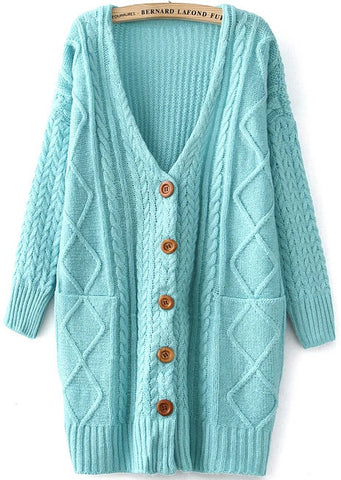 Blue V Neck Long Sleeve Cable Knit Cardigan