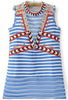 Blue Sleeveless Striped Embroidered Dress