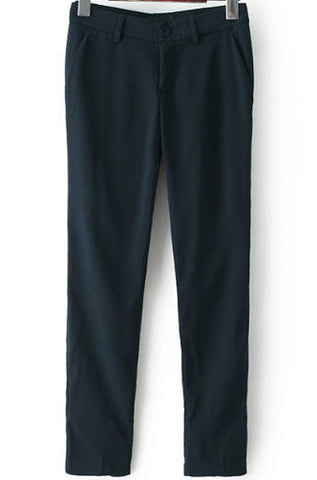 Black Button Fly Suit Pant