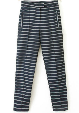 Navy Pockets Striped Pant
