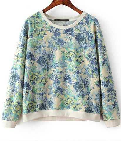 Green Long Sleeve Peony Print Loose Sweatshirt
