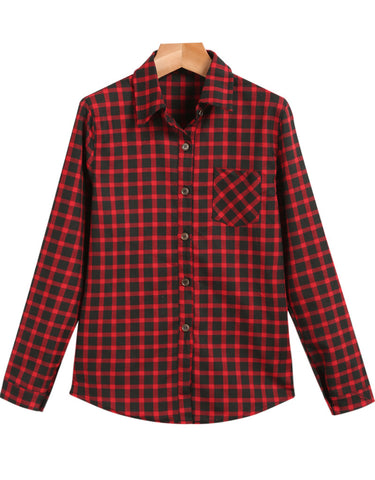 Red Lapel Long Sleeve Plaid Pocket Blouse