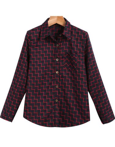 Black Lapel Long Sleeve Plaid Pocket Blouse