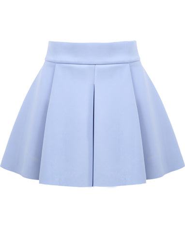 Blue High Waist Ruffle Flare Skirt