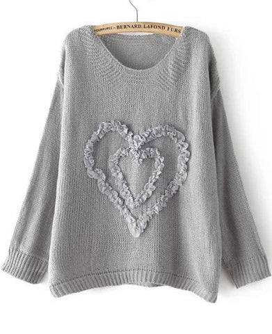 Grey Long Sleeve Heart Pattern Knit Sweater