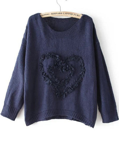 Navy Long Sleeve Heart Pattern Knit Sweater