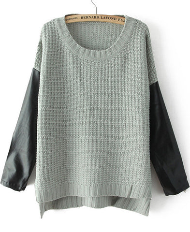 Grey Contrast PU Leather Long Sleeve Loose Sweater