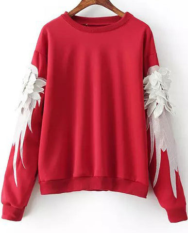 Red Long Sleeve Feathers Embroidered Sweatshirt