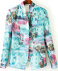 Blue Stand Collar Long Sleeve Floral Blazer
