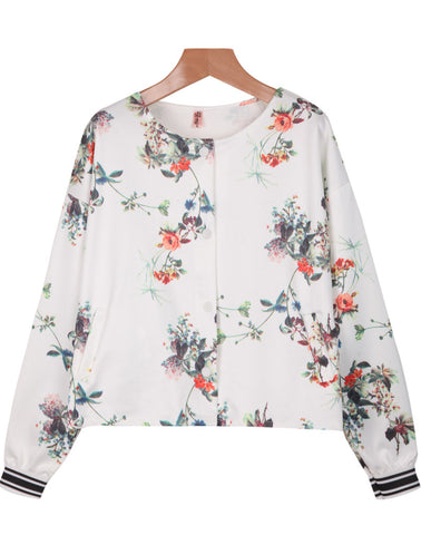 White Long Sleeve Floral Crop Jacket