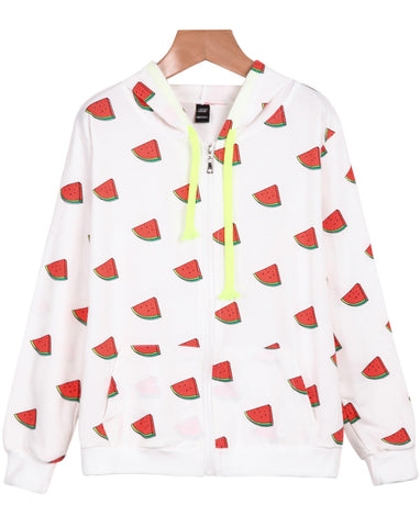 White Hooded Long Sleeve Watermelon Print Jacket