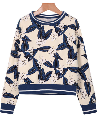 Apricot Long Sleeve Leaves Print Loose Sweatshirt