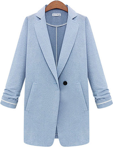 Blue Lapel Long Sleeve Single Button Blazer