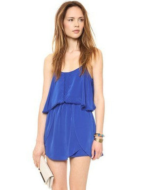 Blue Spaghetti Strap Backless Loose Dress