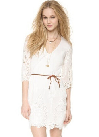 White V Neck Half Sleeve Floral Crochet Dress