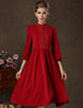 Wine Red Long Sleeve Vintage Pleated Dress