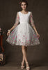 White Half Sleeve Embroidered Organza Dress