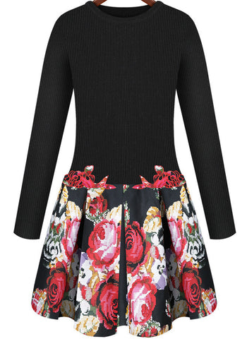 Black Long Sleeve Embroidered Flare Dress