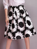 Black Sunflowers Print Flare Skirt
