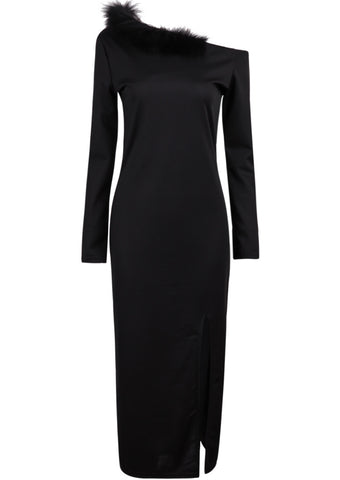 Black Long Sleeve Faux Fur Embellishment Split Dress