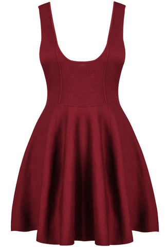 Wine Red Scoop Neck Sleeveless Zipper Backless Knitting Dress