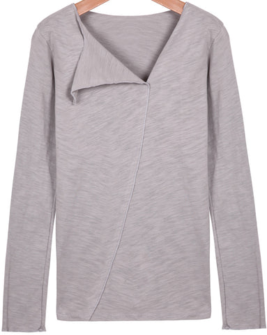 Grey Long Sleeve Asymmetric Neckline T-shirt
