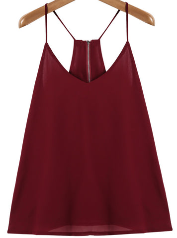 Wine Red Straps Zipper Back Vest