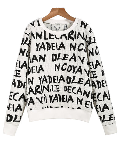 White Long Sleeve Black Letters Print Sweatshirt