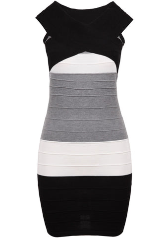 Black V Neck Sleeveless Bodycon Bandage Dress