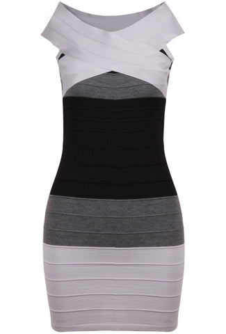 Grey V Neck Sleeveless Bodycon Bandage Dress