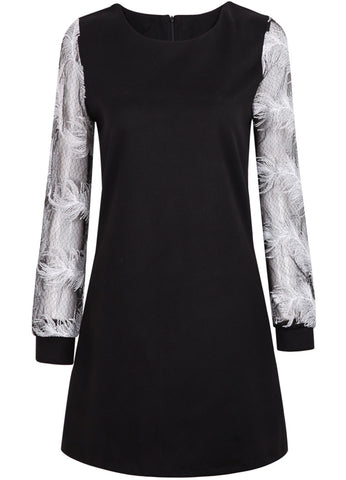Black Long Sleeve Feathers Pattern Dress
