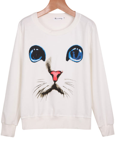 White Long Sleeve Cat Print Loose Sweatshirt
