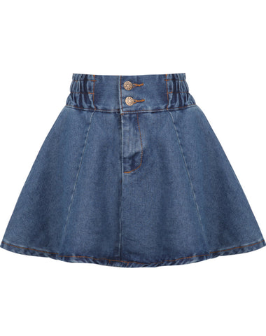 Blue Elastic Waist Flare Denim Skirt