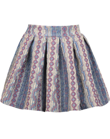 Blue Embroidered Pleated Flare Skirt