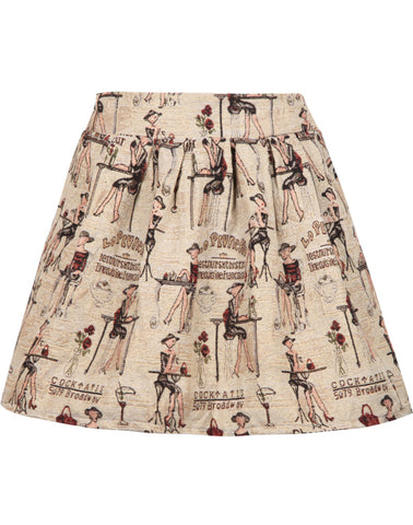 Apricot Beauty Print Flare Skirt