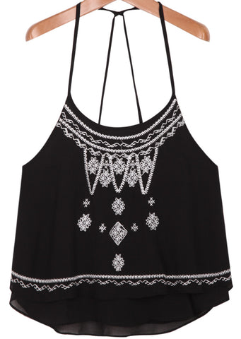 Black Spaghetti Strap Embroidered Vest