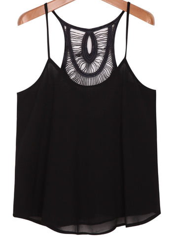 Black Spaghetti Strap Hollow Vest