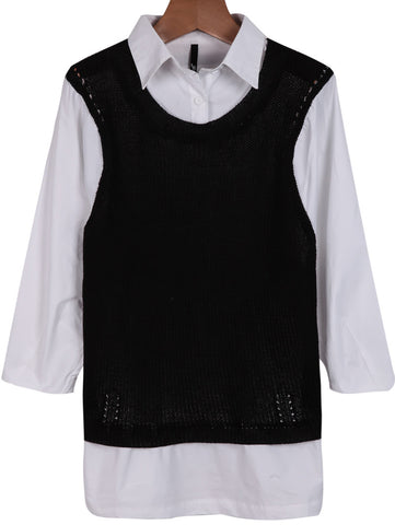 Black White Long Sleeve Contrast Knit Blouse