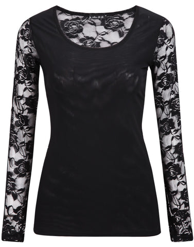 Black Lace Long Sleeve Sheer Blouse