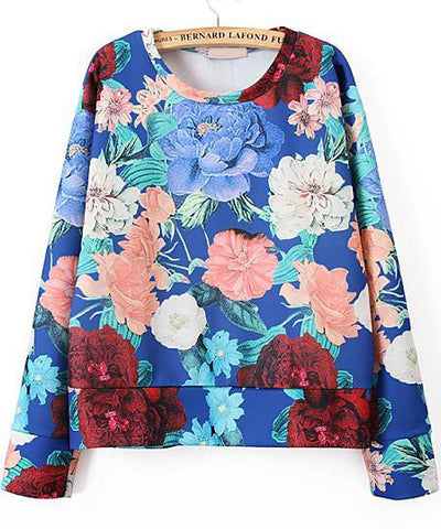 Blue Long Sleeve Floral Loose Sweatshirt
