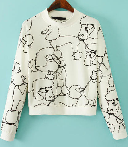 White Long Sleeve Dogs Print Crop Sweatshirt