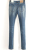 Blue Pockets Slim Bleached Denim Pant
