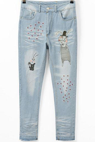Blue Cartoon Embroidered Bleached Denim Pant